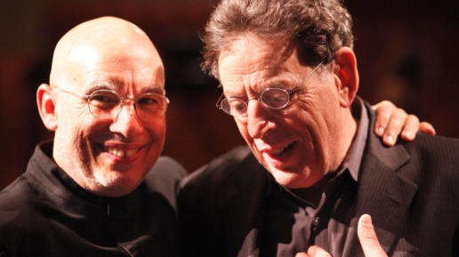 Dennis Russell Davies (L) with Philip Glass (R). Photo credit: Reinhard Winkler